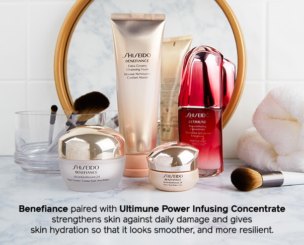 Benefiance paired with Ultimune Power Infusing Concentrate strengthens skin against daily damage and gives skin hydration so that it looks smoother, and more resilient.
